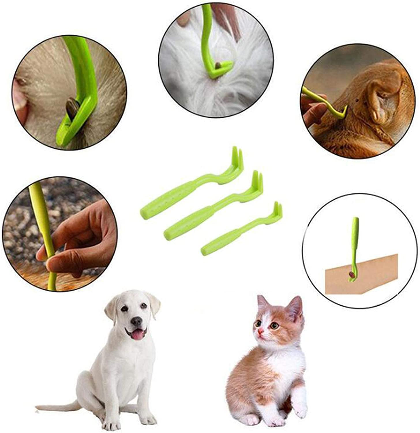 Plastic Tick Hooks Painlessly Tick Removal Twister Tool for Dogs Cats Horses PROGARMENTS 6Pcs Pet Tick Remover Tool