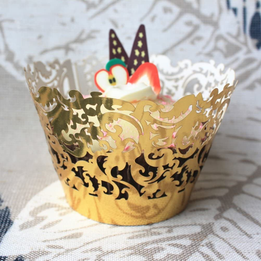 Tinksky g/âteau Muffin Cup Trays Golden Wraps RS Trays Party D/écoration 50/pi/èces