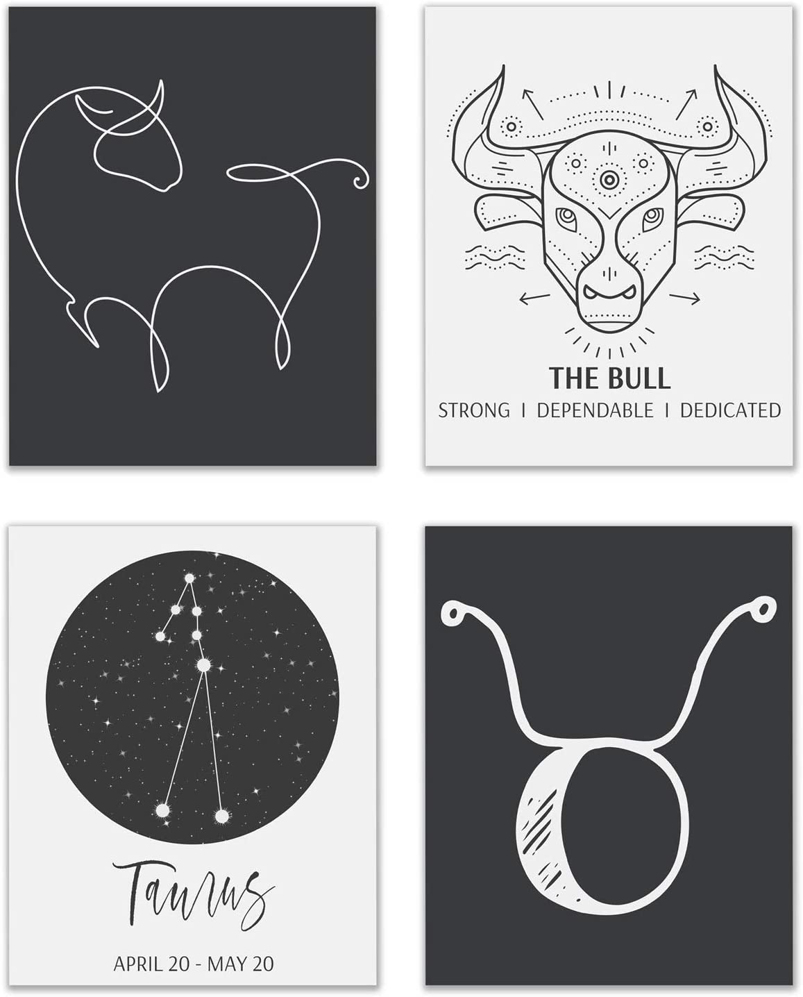 Taurus Astrological Sign Prints - Set of 4 (8x10 Inches) Zodiac Constellation Horoscope Star Sign Four Elements Wall Art Decor - The Bull - Earth - Fixed - Venus