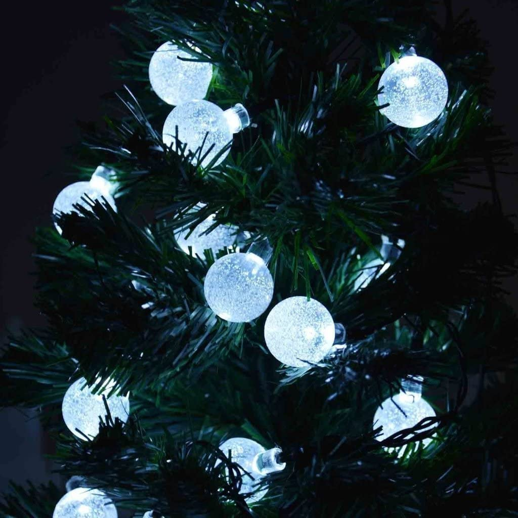 Agooding 8 Modes 16ft 5m Solar Christmas Decorative String Lights 20 Leds Crystal Bubble Globe Lighting For Outdoor Garden Christmas Tree Wedding Party And Holiday Decorations White Amazon Co Uk Kitchen Home
