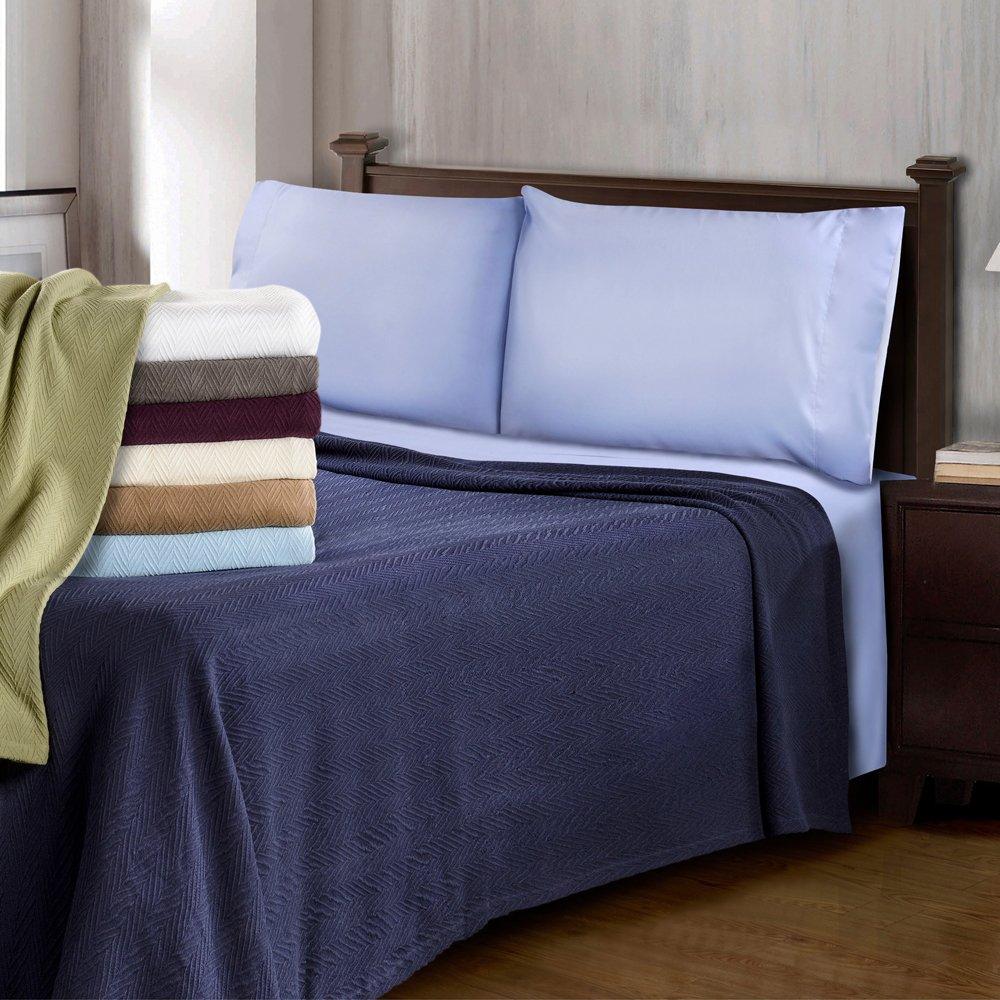 Perfect for Layering Any Bed Twin//Twin XL 100/% Soft Premium Cotton Blanket White eLuxurySupply Metro Weave Blanket