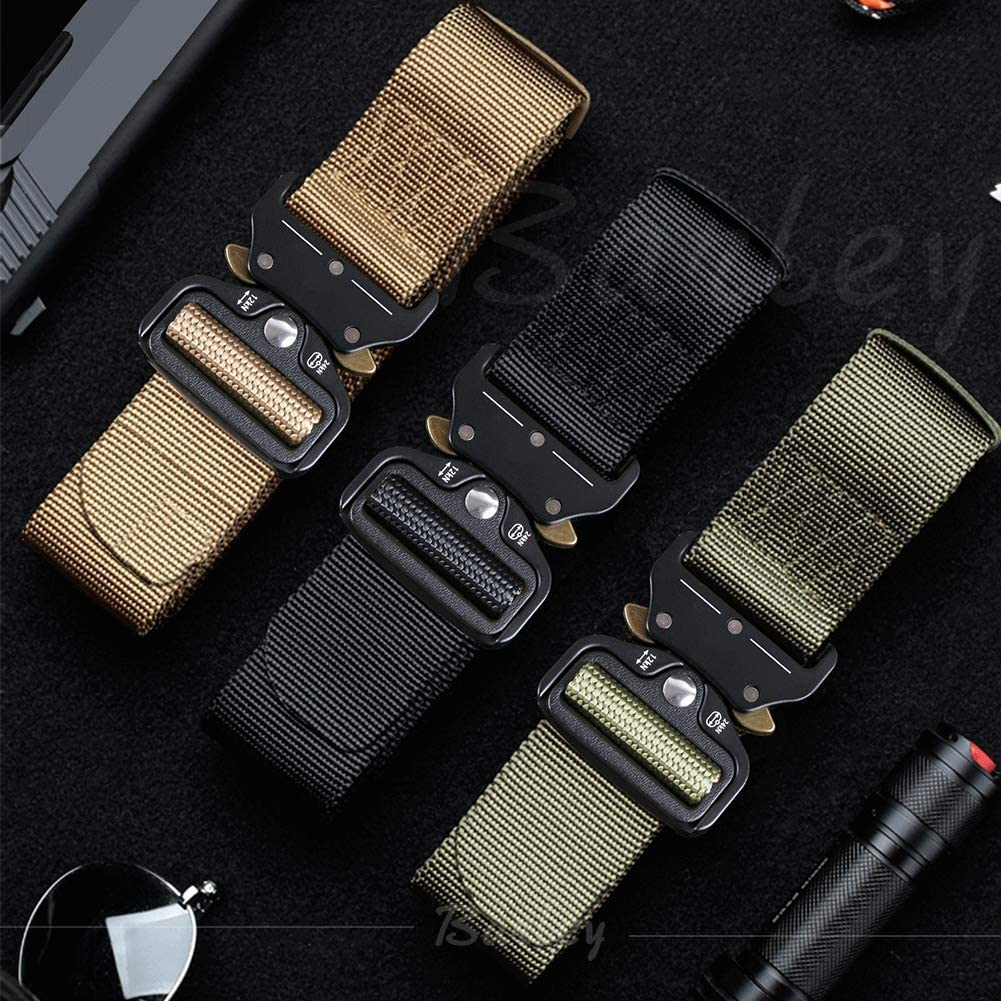 XXL Large Size Military Heavy Duty Belt Nylon Belt with Quick-Release Metal Cobra Buckle for Working Outdoor Molle Men Tactical Belt