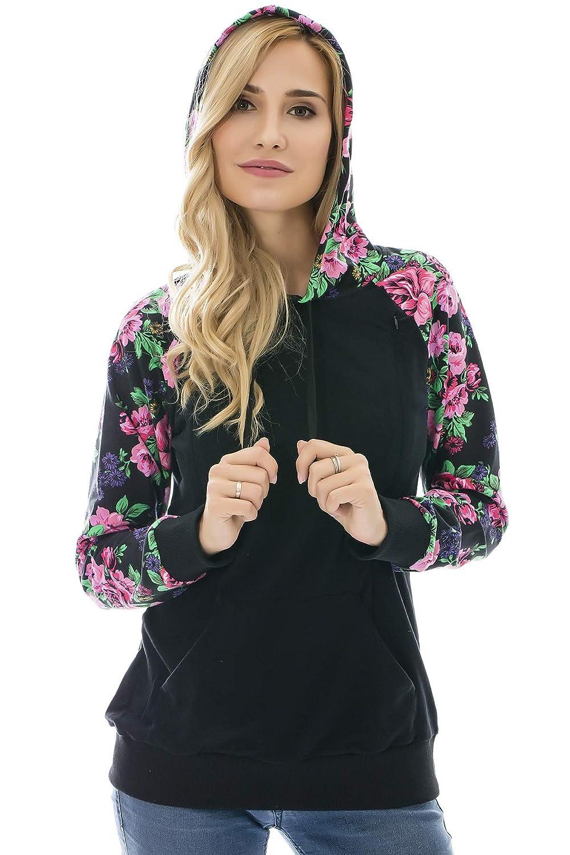 Bearsland Womens Maternity Hoodie Zipper Breastfeeding Shirt Nursing Sweatshirt with Pockets