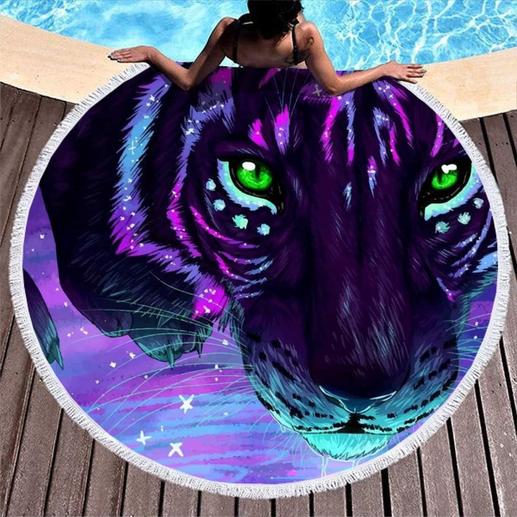 Shinelly Tiger - Toalla de Playa, Esterilla de Yoga, Mandala India, Redonda, algodón, Mantel, Toalla de Playa, Esterilla de Yoga Redonda, Bufanda, 59 en la Playa, Tiempo Libre, Tigre, 150 cm: Amazon.es: Hogar