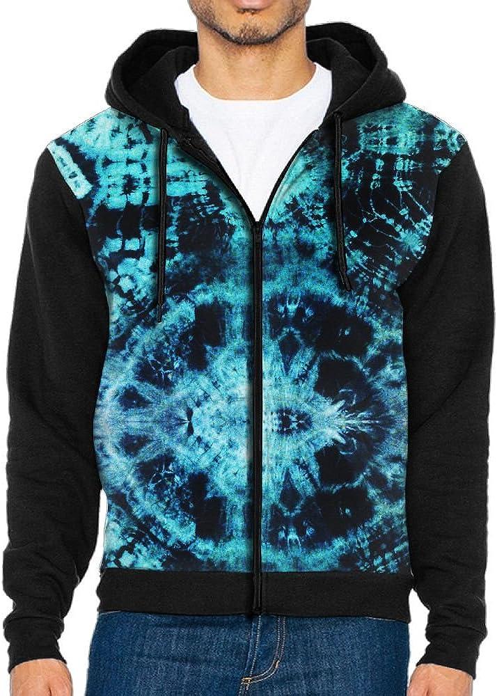 ZPENG Full Zipper Hoodies Trippy Space Printed Athletic Hooded Sweatshirt With Pocket For Men