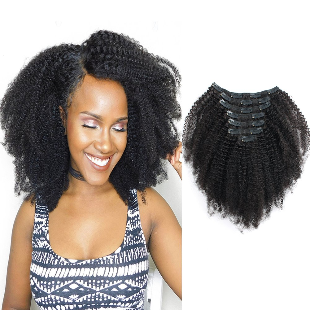 Amazon Sassina 8a Grade Afro Curly Clip In Human Hair