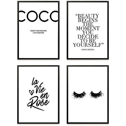 Set De 4 Posters Coco Chanel Muraux Imprimés à Phrase De Motivation Format A4 De Haute Qualité 300 Gsm Affiches D Art Moderne Et De Citation