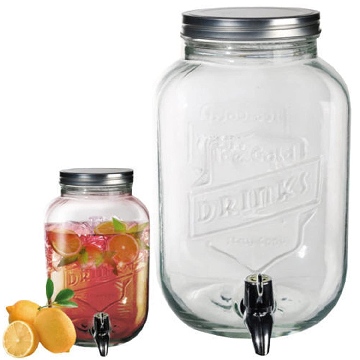 3.5L Glass Dispenser Jar Drink Cocktail Beverage Water With Tap Punch Juice Home.