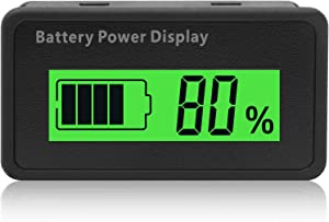 Battery Tester, DC 12V 24V 36V 48V Lead-Acid&Lithium Battery Meter LCD Display Battery Capacity Indicator for Golf Cart RV Marine Boat Club Car Motorcycle