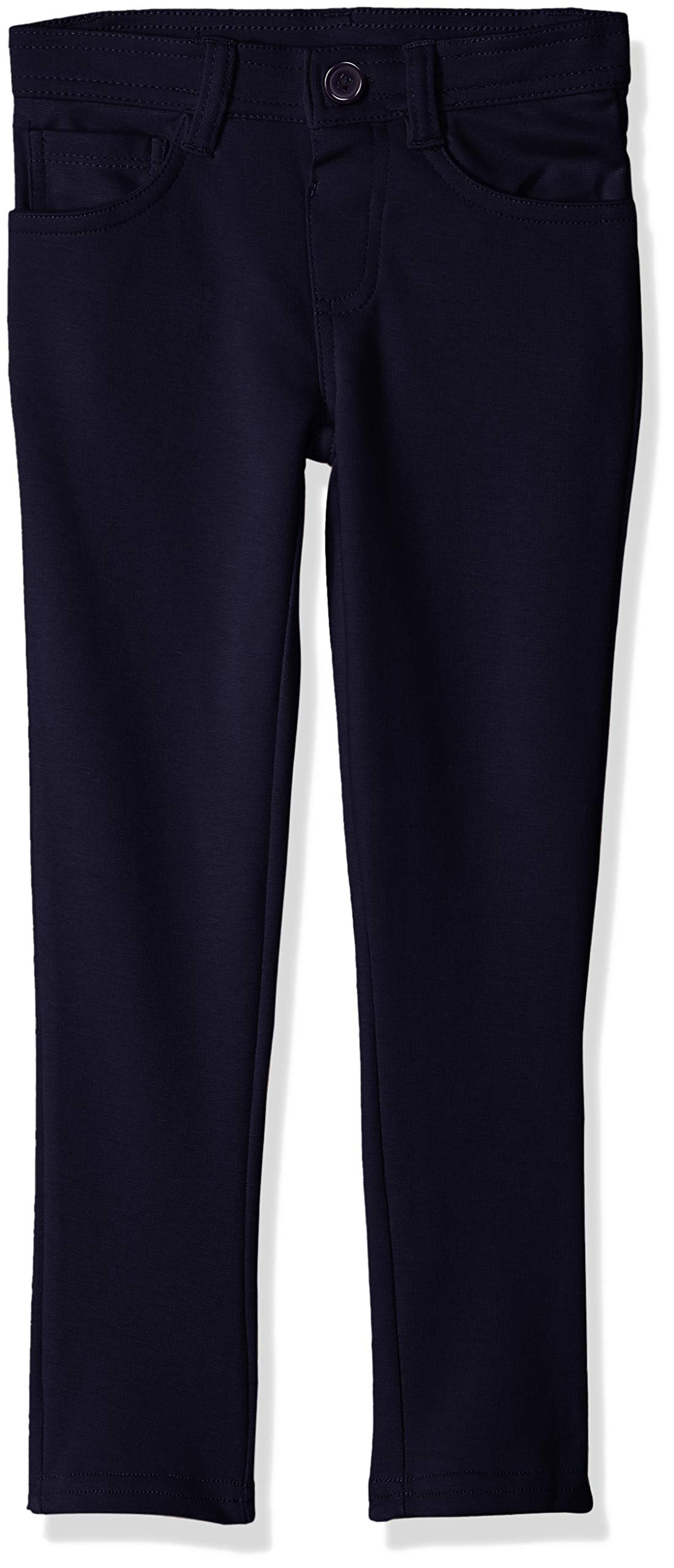 U.S. Polo Assn. Girls' Little Pull-On Ponte Knit Skinny Fit Pant, Navy, 4