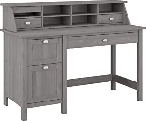 Bush Furniture Broadview Computer Desk with Drawers and Desktop Organizer, 54W, Modern Gray