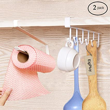 Paper Holders Home Improvement 2pcs Space Saving Paper Towel Holder Dispenser Under Cabinet Paper Roll Holder Rack Without Drilling For Kitchen Bathroom