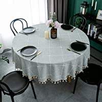 TEWENE Table Cloth, Wrinkle Free Stitching Tassel Round Tablecloth Cotton Linen Round Table Cloths Washable Tablecloths…