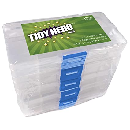 Small Plastic Storage Box With 10 Compartments And Adjustable Dividers  (Pack Of 5) Clear
