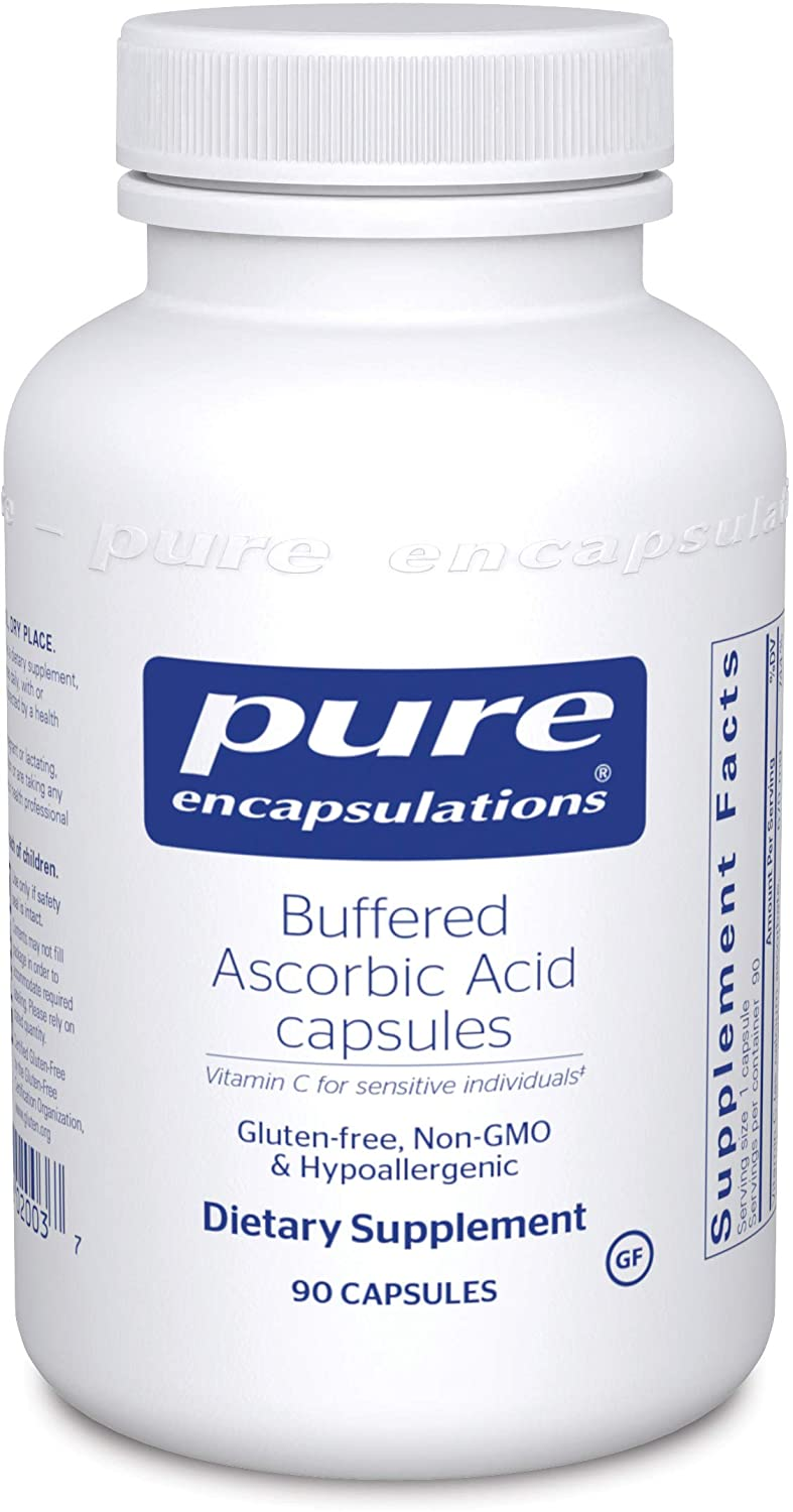 Pure Encapsulations - Buffered Ascorbic Acid - Vitamin C for Sensitive Individuals - 90 Capsules