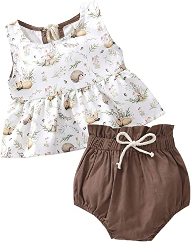 3PC Infant Baby Girl Summer Sleeveless Bow Ruffles Tops+Floral Shorts+Hat Outfit
