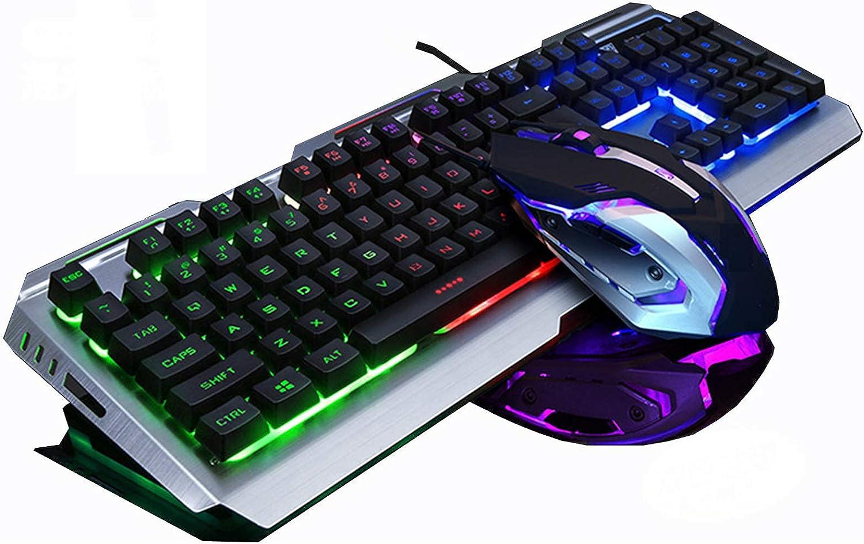 USB Wired Luminous Metal RGB Gaming Keyboard LED Ergonomic Mechanical Feel Gaming Keyboard for Laptop PC Keyboard Mice(Color:F) DAKSL (Color : D)