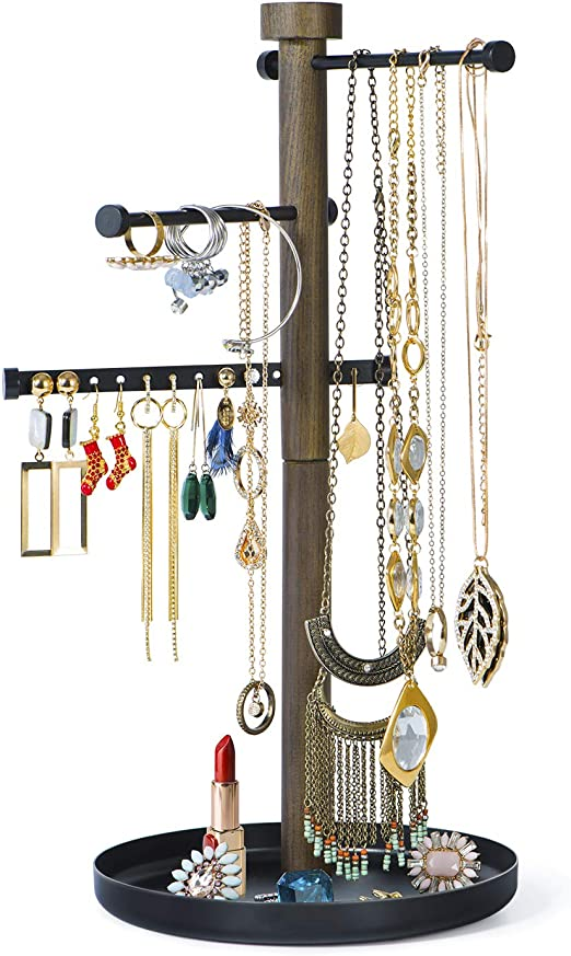 Amazon Com Sriwatana Jewelry Holder Stand 3 Tier Jewelry Tree Organizer Wood For Earring Bracelet Necklace Hanging With Movable Metal Bar Home Kitchen