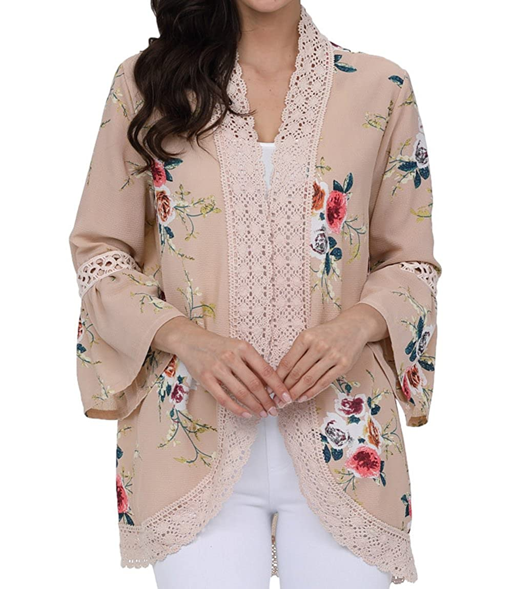 SunBoss Womens Kimono Cardigans Floral Chiffon Blouse Boho Wrap Casual Coverup Knit Tops