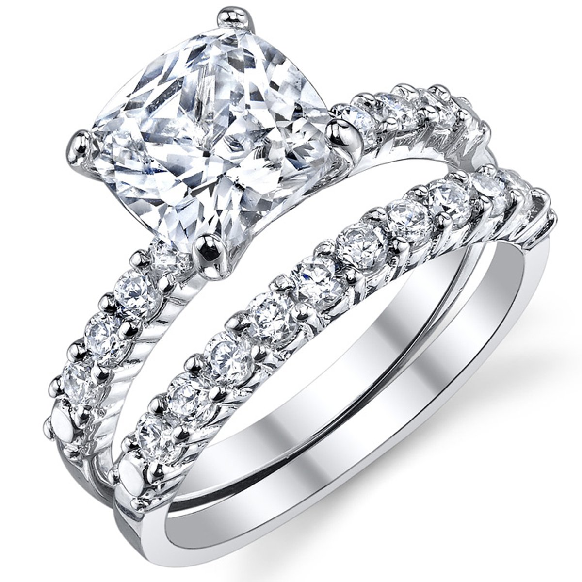 Fabulous Cushion Cut Cubic Zirconia Sterling Silver 925 Wedding Engagement Ring Band Set 6