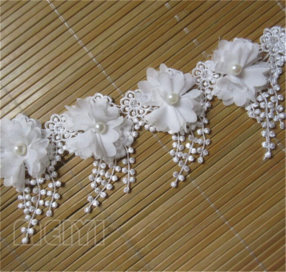 White 3 Yard 3D Chiffon Flower Pearl Beaded Lace Edge Trim Ribbon 3-1//2 Width Vintage Style 5 Colors Edging Trimmings Fabric Embroidered Applique Sewing Craft Wedding Bridal Dress Party DIY Decor