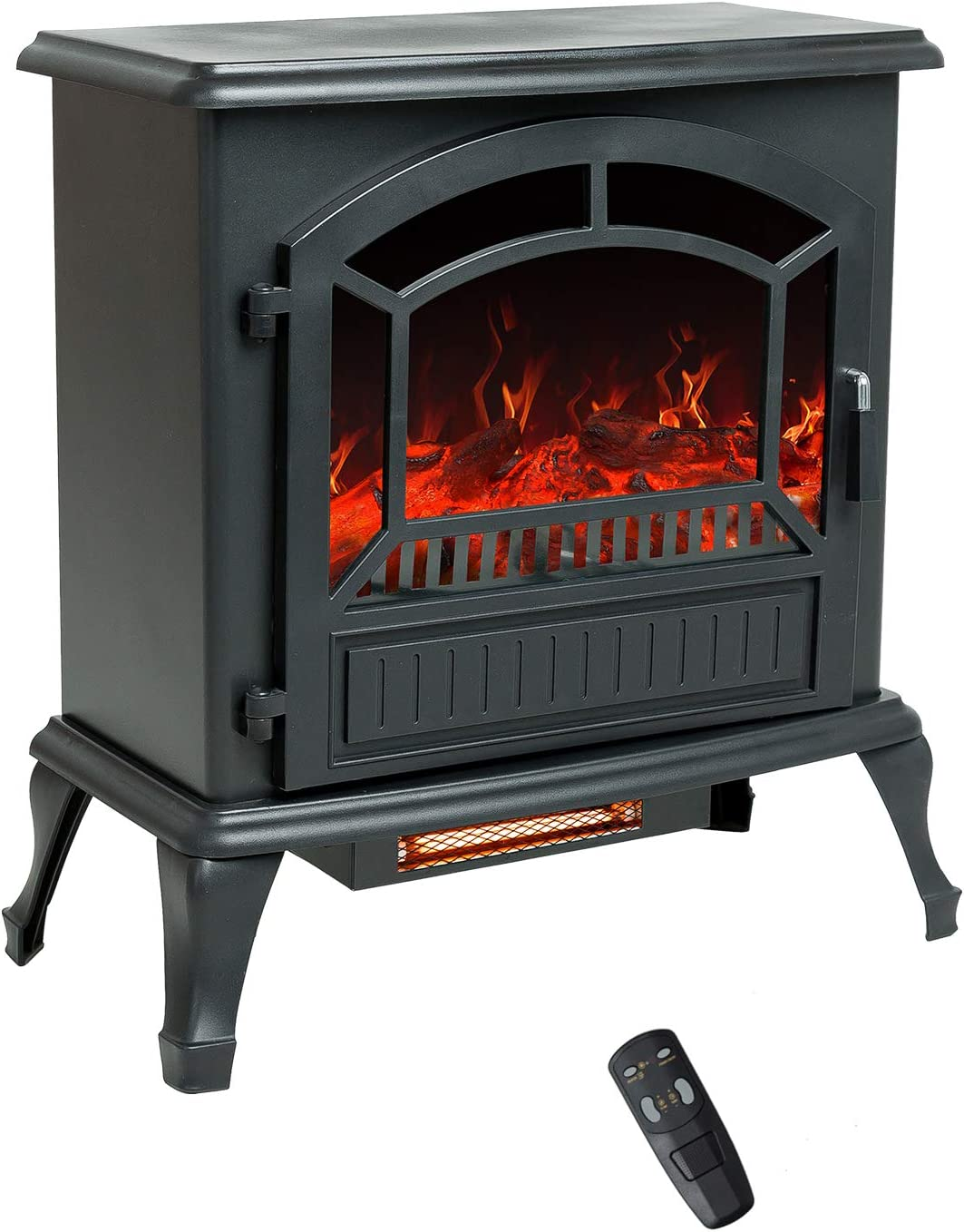 Flame Shade 25 Inch Electric Fireplace Wood Stove Portable Freestanding Indoor Space Heater With Remote Timer 1500 750w Kitchen Dining