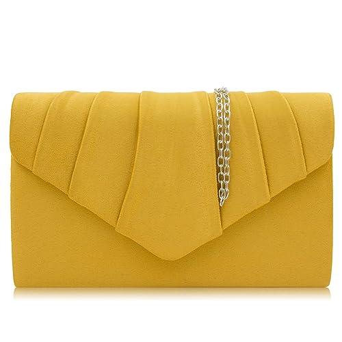 Milisente Women Evening Bag Velvet Pleated Clutch Purse Envelope Clutches ( Banana Yellow) 17ba9817901d6