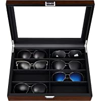 BEWISHOME Sunglasses Organizer, 8 Slot Sunglasses Case for Men, Eyeglasses Storage Box with Clear Glass Top, Smooth Faux…