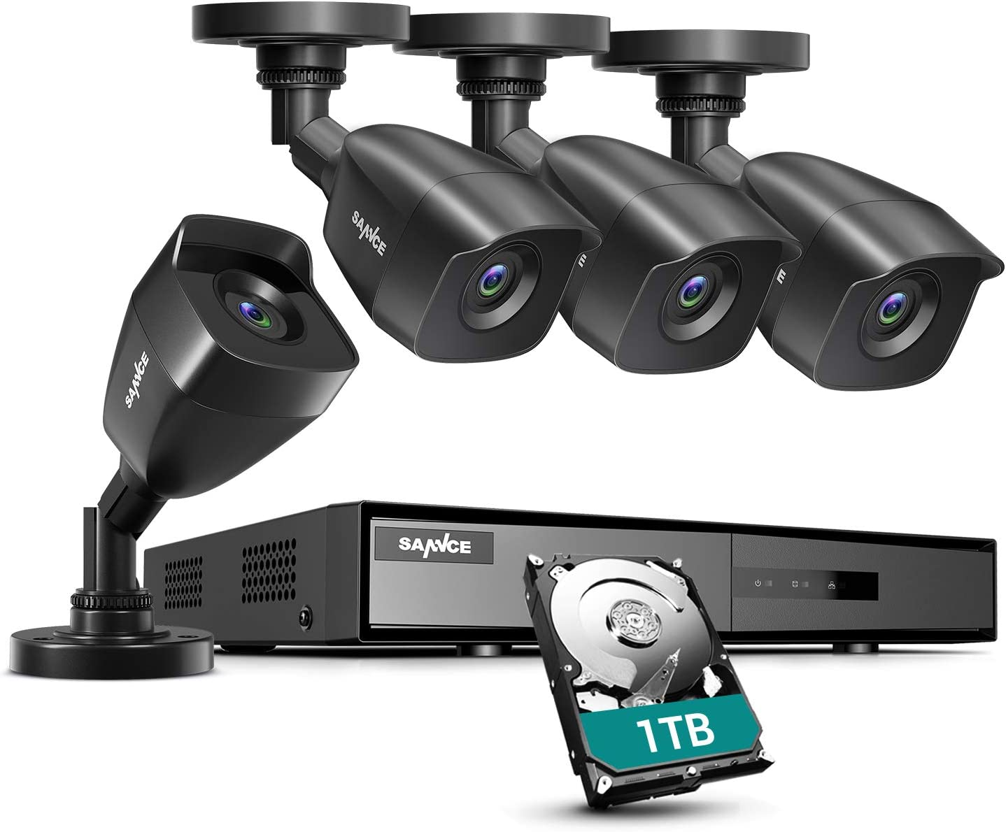 SANNCE 8CH 1080P Lite DVR Security Camera System with 1TB Hard Drive and (4) 1080P Night Vision Surveillance Cameras, IP66 Weatherproof , P2P Technology/E-Cloud Service, QR Code Scan Remote Access