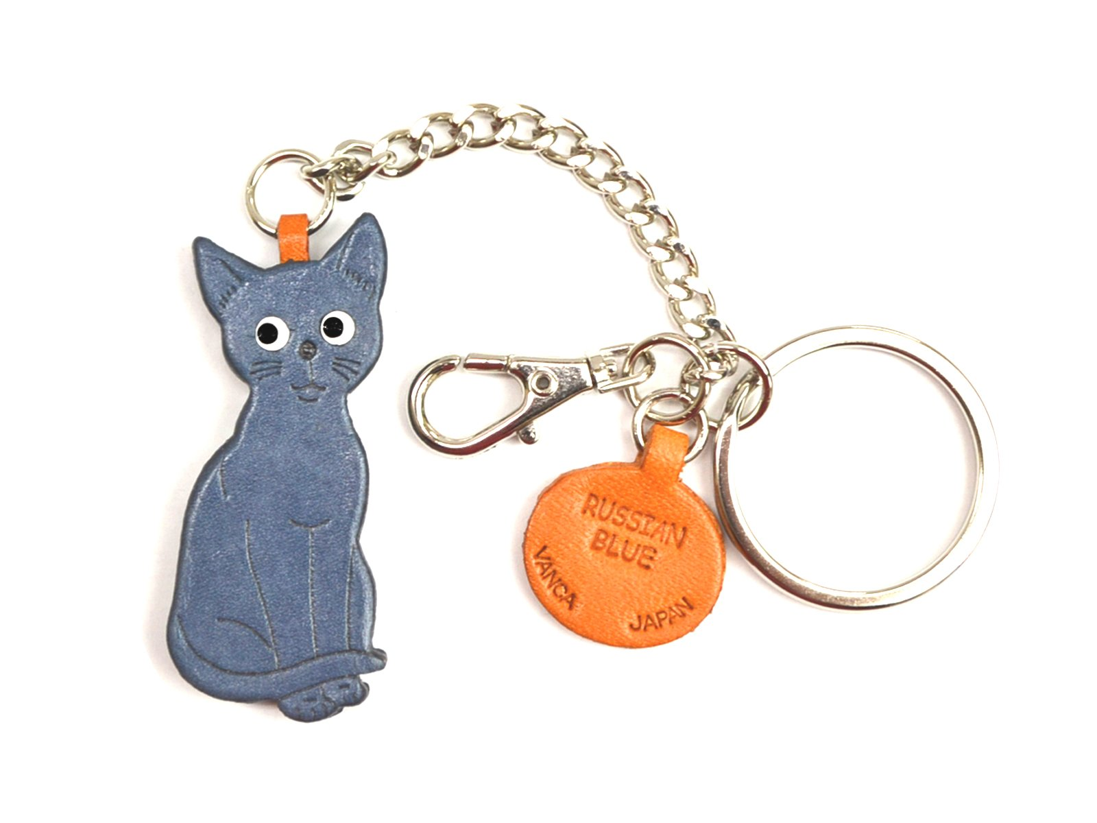 Russian Blue Leather Bag/Key Ring Charm VANCA CRAFT-Collectible Keychain Made in Japan