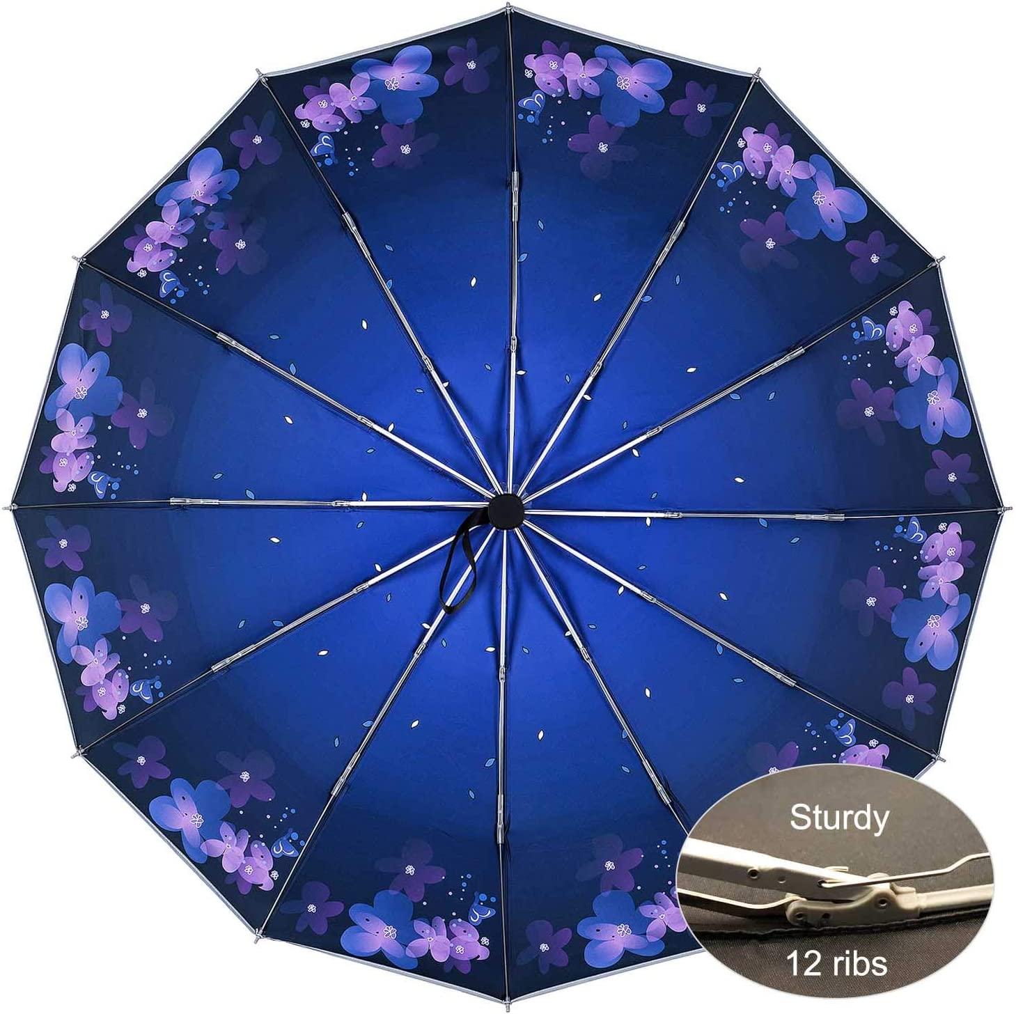 Automatic Open Close Newsight Inside Out Folding Umbrella Reverse UV Protection Sun Umbrella Windproof with PU Pouch One Touch 12 Ribs Inverted Rain Umbrella Reverse