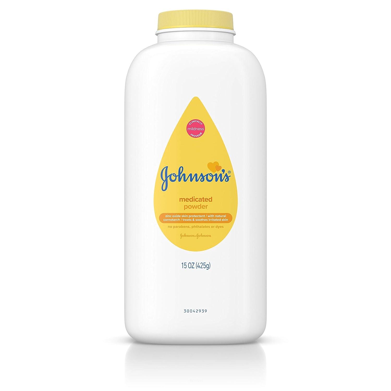Johnsons Medicated Diaper Rash Baby Powder, Zinc Oxide and Natural Cornstarch, 15 oz (Pack of 2)