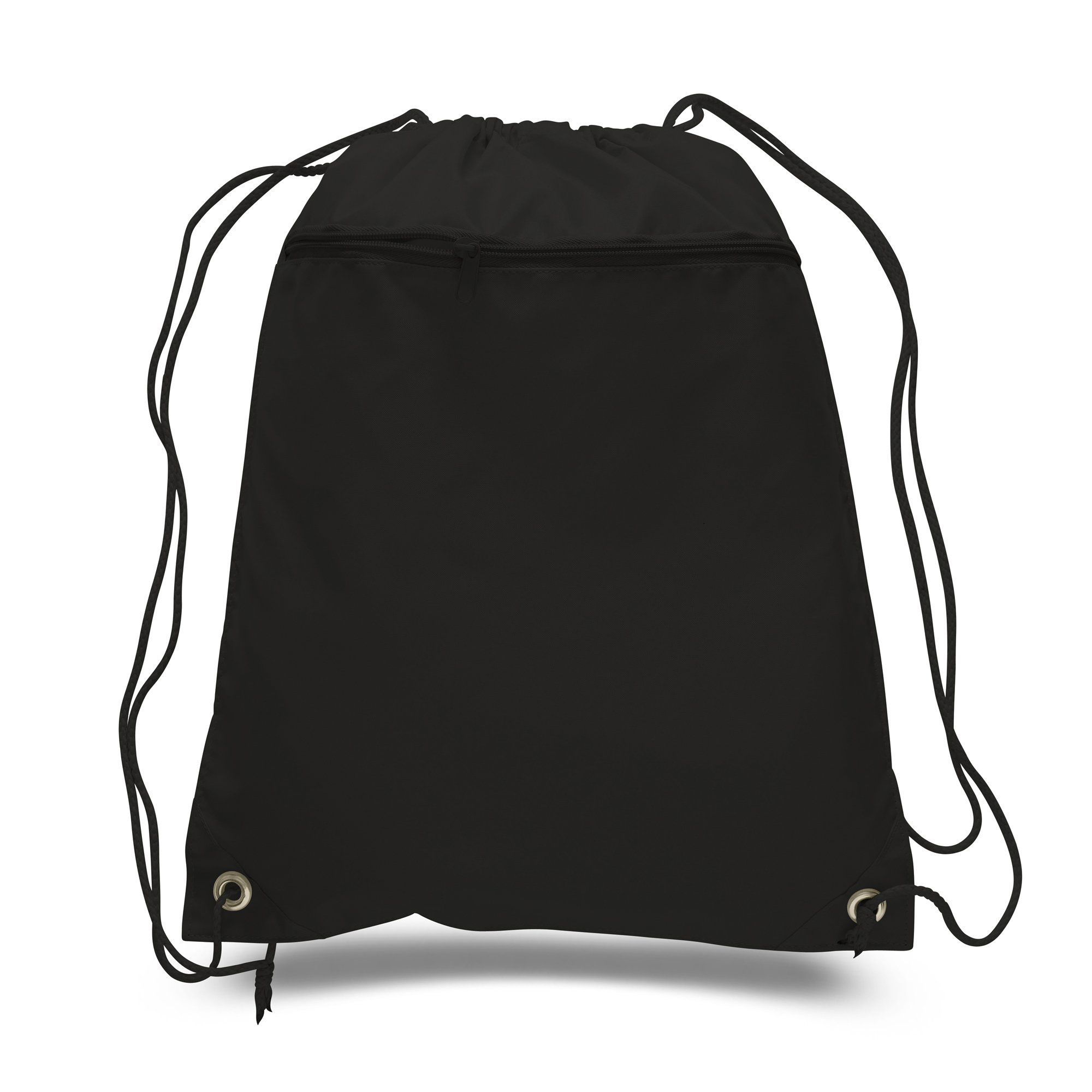 (SET OF 144) BagzDepot BULK Polyester Promotional Durable Gym Drawstring Backpacks with Front Zipper Pockets, Cinch Bags, Sack Packs in Bulk (Black)