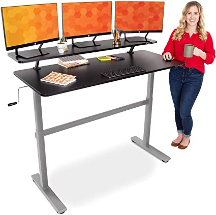 Amazon Com Stand Steady Tranzendesk 55 In Standing Desk With Clamp On Shelf Easy Crank Height Adjustable Stand Up Workstation W Attachable Monitor Riser Holds 3 Monitors Adds Desk Space 55 Silver