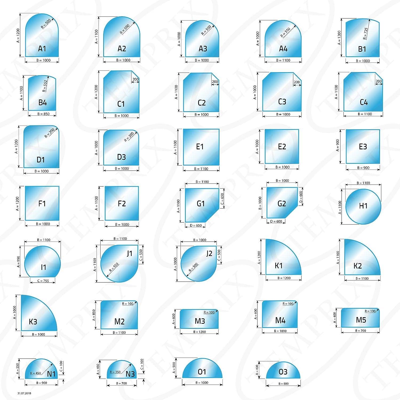 Temprix Kaminbodenplatte Funkenschutzplatte Gr/ö/ßte Auswahl an Glasbodenplatte und Metallbodenplatte Glasplatte und Metallplatte f/ür Kamin und Ofen Glasscheibe Bodenplatte Glas /& Metall