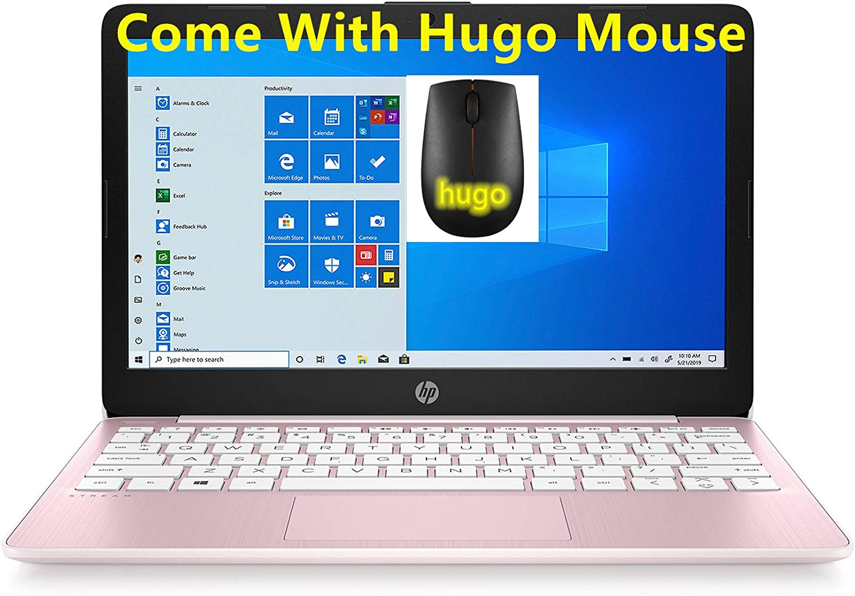 2020 HP Stream 11.6 inch Laptop Computer Intel Celeron N4020 Upto 2.8 GHz, 4GB RAM, 64GB eMMC Storage, Windows 10 Home, 13Hr Battery Life, with Hugo (Rose Pink) (Renewed) (64GB)