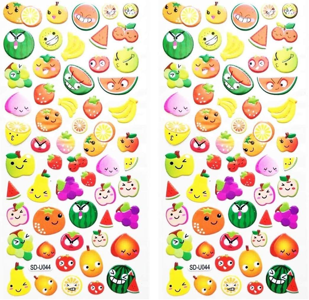 PP Stickers 2 Sheets Cute Fruit Apple Papaya Banana Orange Strawberry Watermelon Fruit face Smile Cartoon Label Stickers Vinyl Waterproof Decal Sticker Foam for Kids Reward Happy Birthday Gift