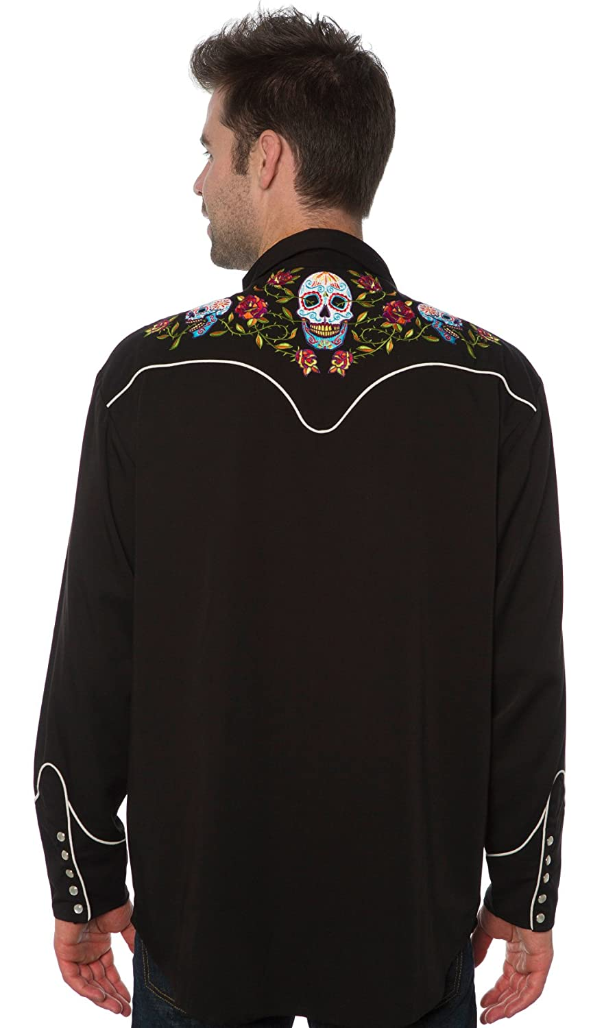 1950s Mens Shirts | Retro Bowling Shirts, Vintage Hawaiian Shirts Bennys Day of the Dead Western Shirt $49.99 AT vintagedancer.com