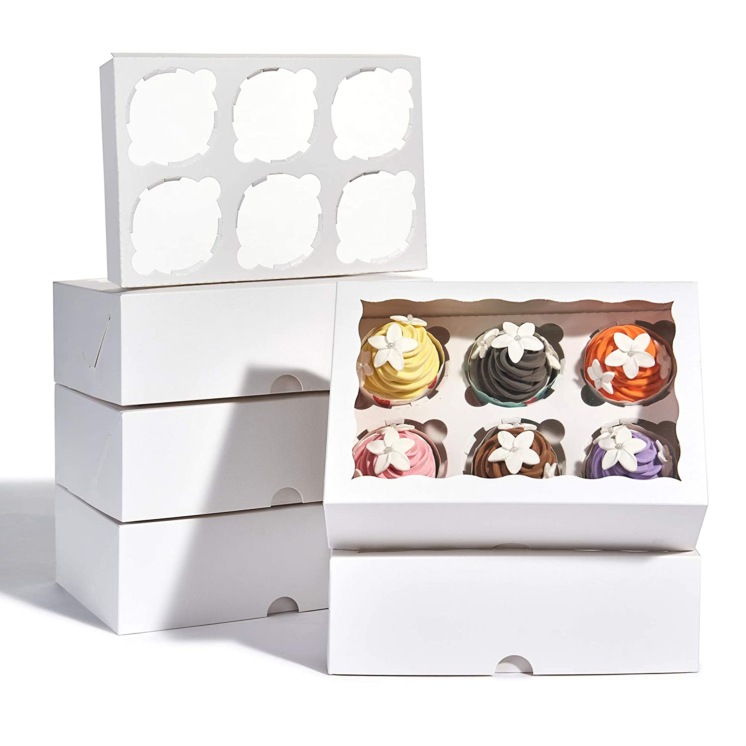 25 Pack Premium Cupcake Boxes with Display Window 9 1/2 x 6 1/5 x 3 Inch, Bakery Boxes with Insert, Cake Boxes, Cookie Boxes, Cupcake Containers, White Cupcake Boxes 6 Count