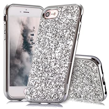 coque iphone 8 plus paillette argent