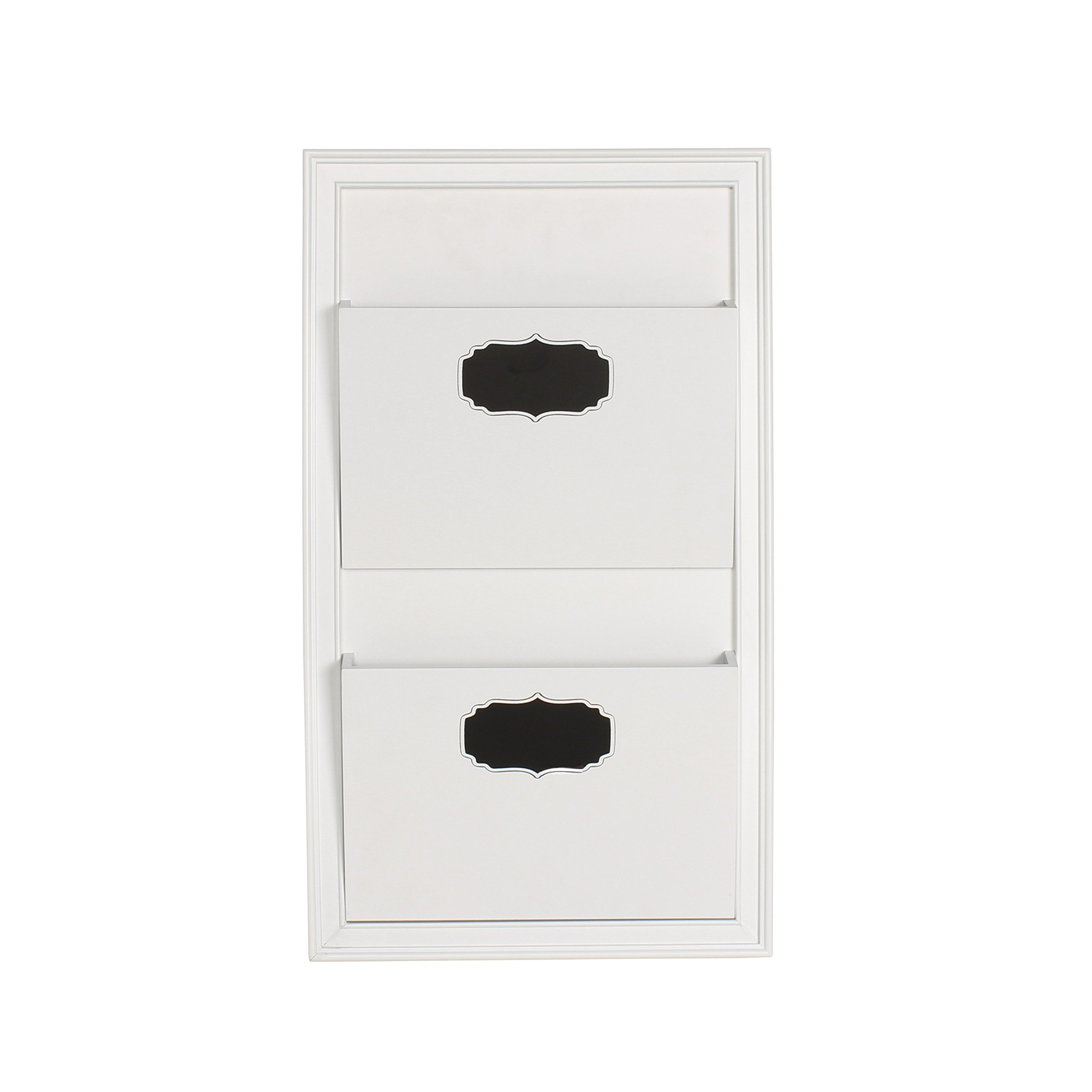 Walcott White Wood Decorative Wall Organizer with 2-Pocket Mail Holder (White)