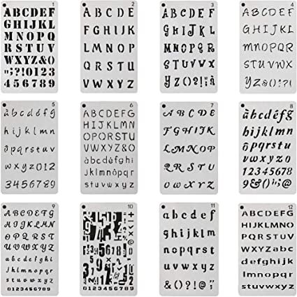 SOOKOO 12pcs Letter And Number Stencils Alphabet