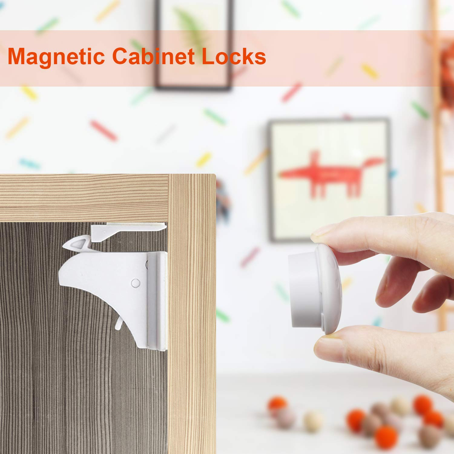 Baby Proofing, 44 PCS Magnetic Cabinet Locks Child Safety, 8 Cabinet Locks + 2 keys, 10 Corner Guards, 20 Outlet Plug Covers, with Strong 3M Adhesive Tape and Metal Screws by ARNIL (Image #7)