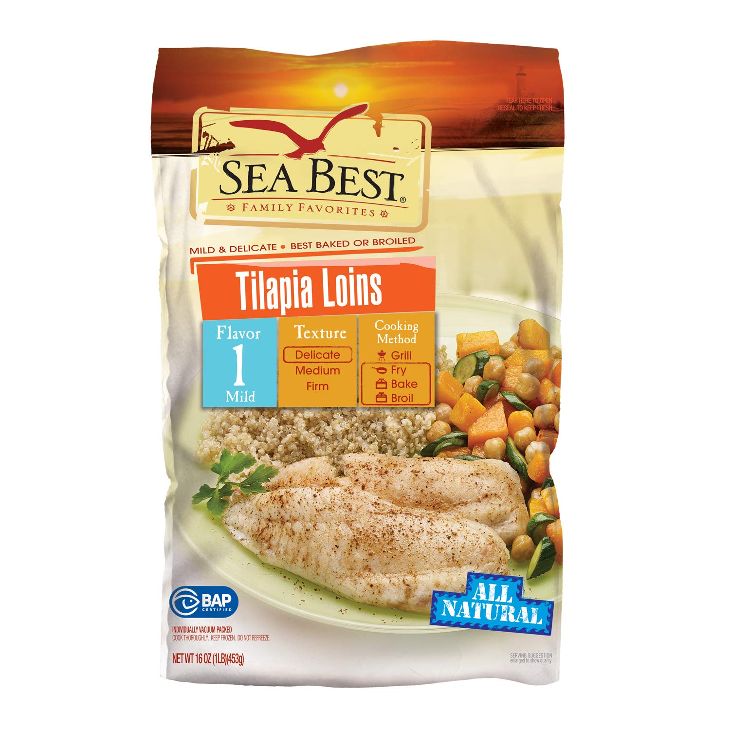 Sea Best All Natural Tilapia Fillets 16 Ounce Amazon Com Grocery Gourmet Food