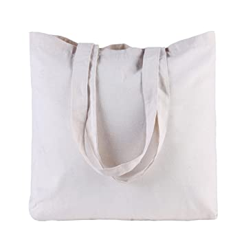 b6867e463b AKOAK 12 x 14 Inches Resuable Plain Cotton Canvas Tote Bag for Grocery  Shopping Bags Convenient