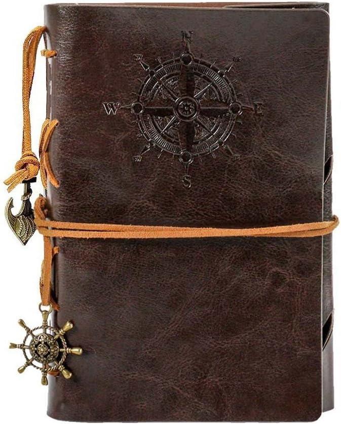 Cuaderno de viaje, Ubierta de Cuero de la PU Cuaderno Agenda Bloc de Notas Pirata Náutico Revista Diario Timón de Cuerda, Notebook Libreta Mano Escrito Viaje (130x185mm, Café)