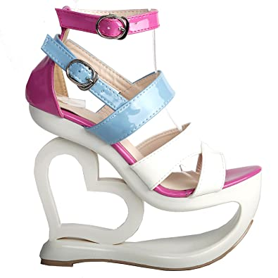 fdb5aa35b2053 SHOW STORY Fashion White Pink Blue Ankle Strap High Heel Platform Party  Sandals