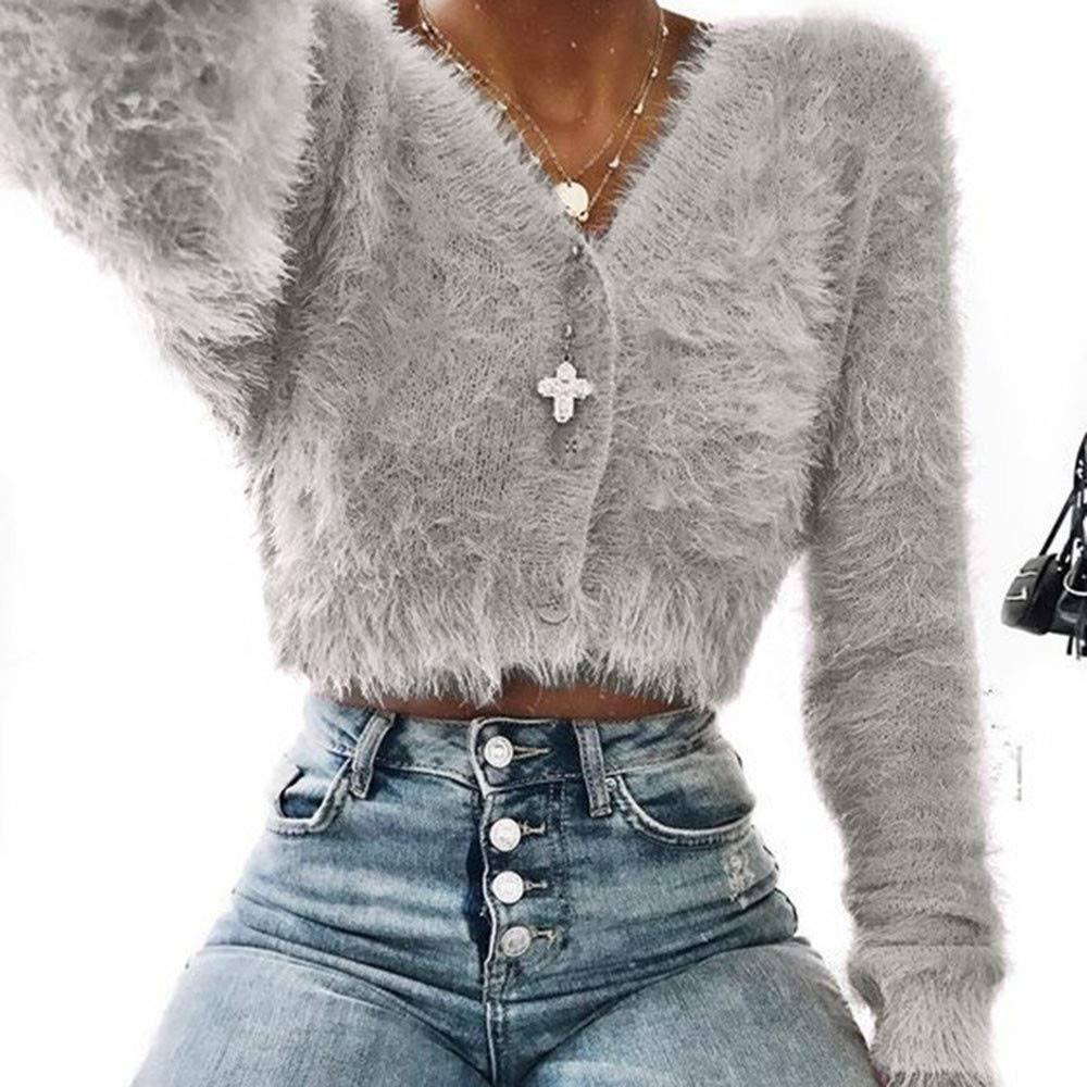 Hunzed women sweater Warm and Comfortable V-Neck Long-Sleeved Furry Casual Sweater