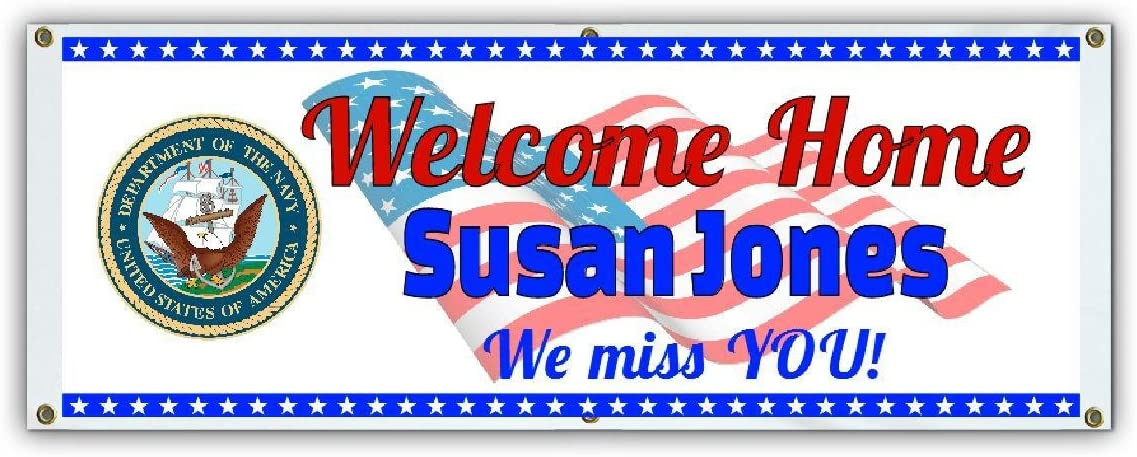 Custom Navy Welcome Home Banner by SignEagle