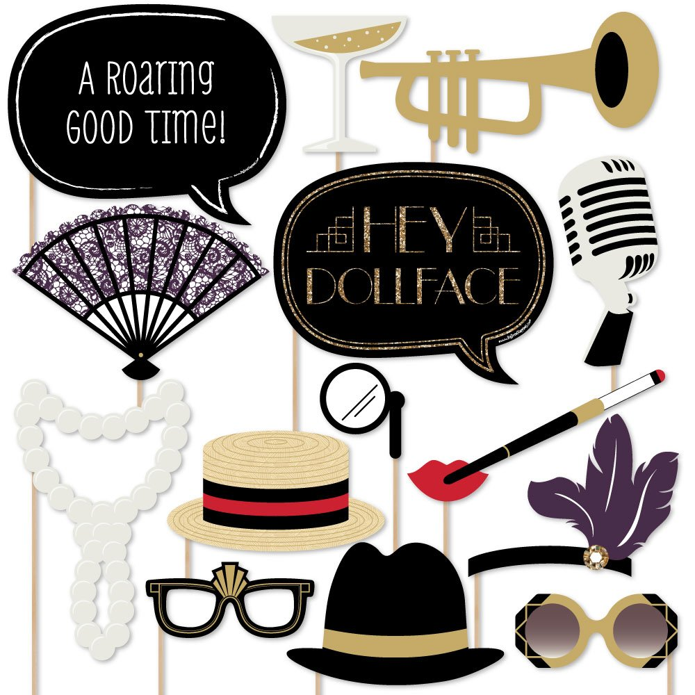 Roaring 20's - Twenties Art Deco Jazz 1920s Photo Booth Props Kit - 20 Count by Big Dot of Happiness